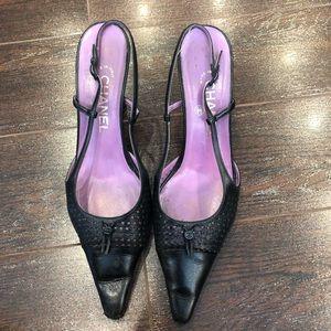 Vintage Chanel Perforated Slingback Heels